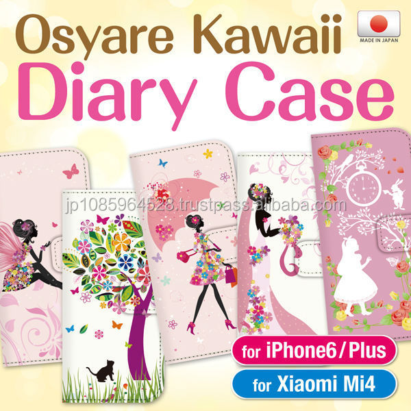 Fashionable flip diary phone wallet cases with card pockets