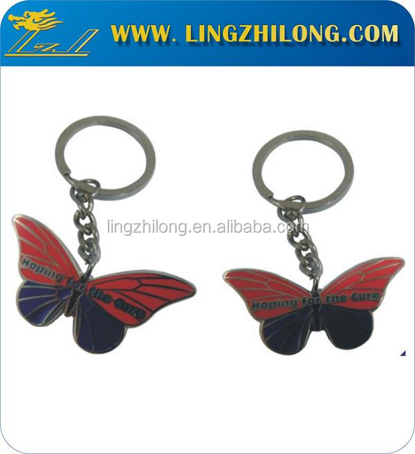 Animal zinc alloy Keyrings Butterfly shape red and black Keychain with ring