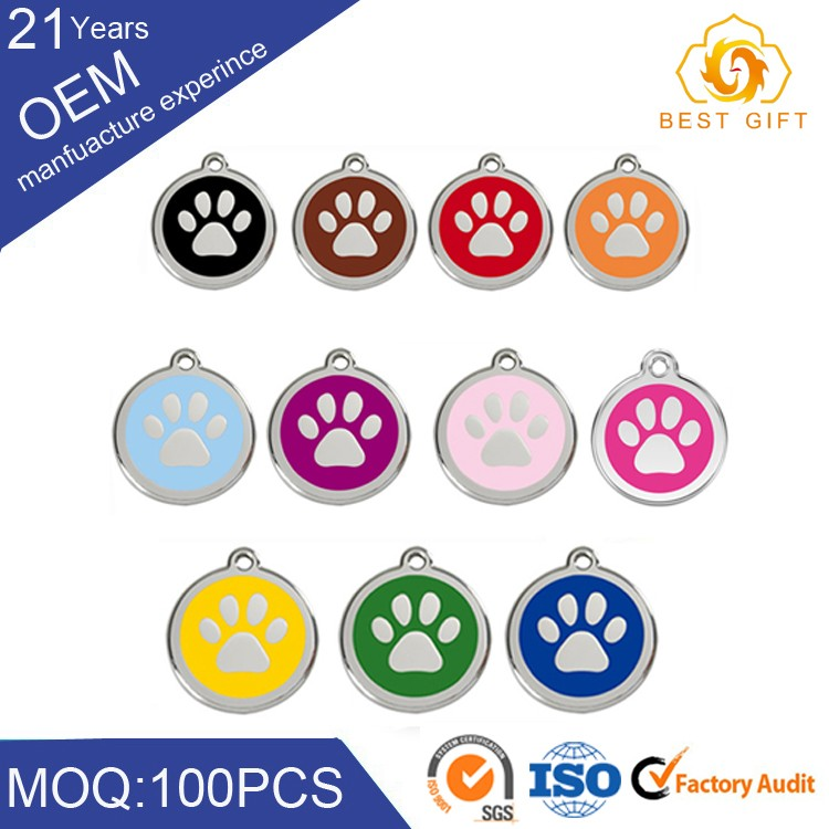 Custom pet id stainless steel metal dog tags for dogs