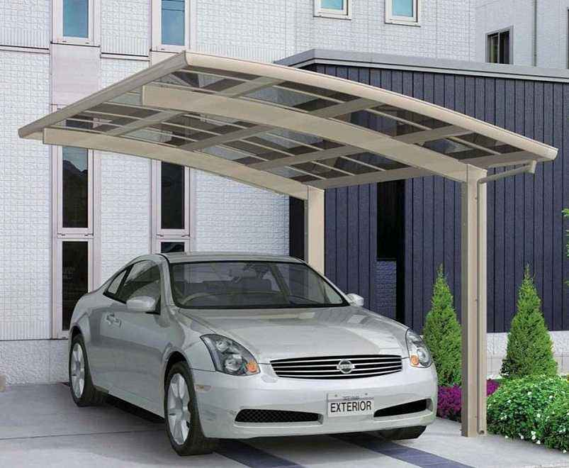 2 Car Metal Frame Attached Carport for Heat Insulation