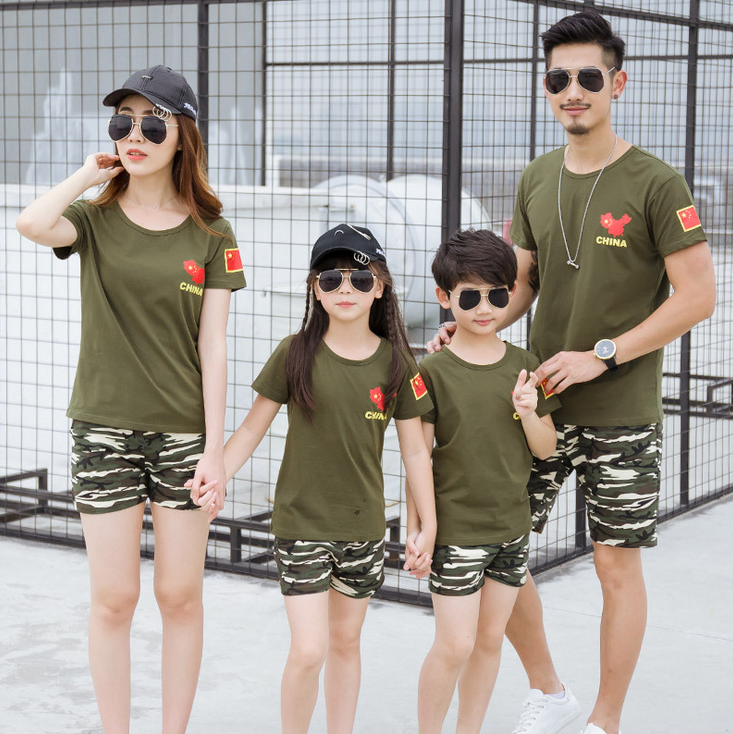 PJ0193ASummer fashion 100% cotton green mother and son suit