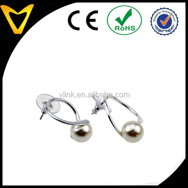New design high polished stianless steel frame with fasteners fresh water cheap pearl earring