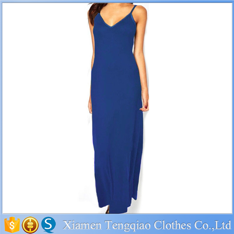 Wholesale of high quality casual sleeveless backless dress, blue, gray and green