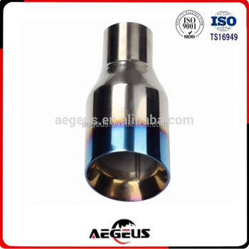"High quality auto Exhaust Slant Cut Tip Duo Layer Blue Burnt Polished Stainless Steel 2.5""In 4""Out"