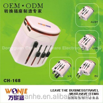 All in One Universal Worldwide Travel Wall Charger/ AC Power AU UK US EU Plug Adapter /Adaptor with 2 USB