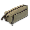 Fashion Handy Canvas and Leather Men Travel Makeup Cosmetic Bag Toiletry Bag