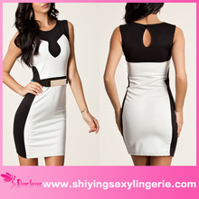 New Wholesale Black White Splicing Belted Bodycon tea length full skirt dresses