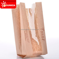 Custom printed French bread packaging kraft paper bags with window