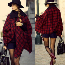 2015 Winter Scarves College Classic European American Big Wild Red and Black Check Plaid Shawl Scarf Female