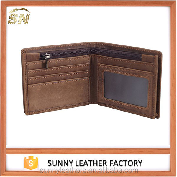 rfid blocking stylish genuine leather wallet for men with crazy horse leather