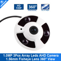 HD 720P Fisheye CCTV Camera 1.56mm Lens IR 10m Metal Housing Surveillance Panoramic 360 Degree View Camera
