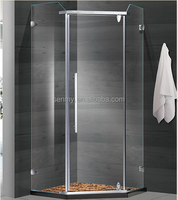 New bathroom designs simple corner free standing frameless pivot open tempered glass shower enclosure