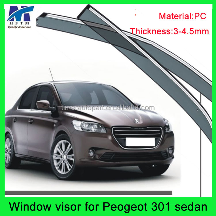 PC and stainless steel 12 months warranty window flares for peugeot 301