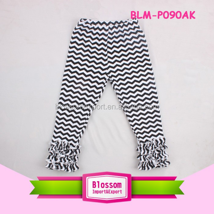 Hot Sell children baby wear white star triple ruffle legging wholesale icing pants