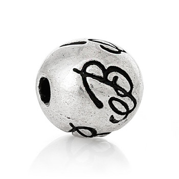 "Spacer Beads Round Antique Silver Alphabet/Letter ""B"" Pattern About 8mm Dia, Hole:Approx 2.2mm"