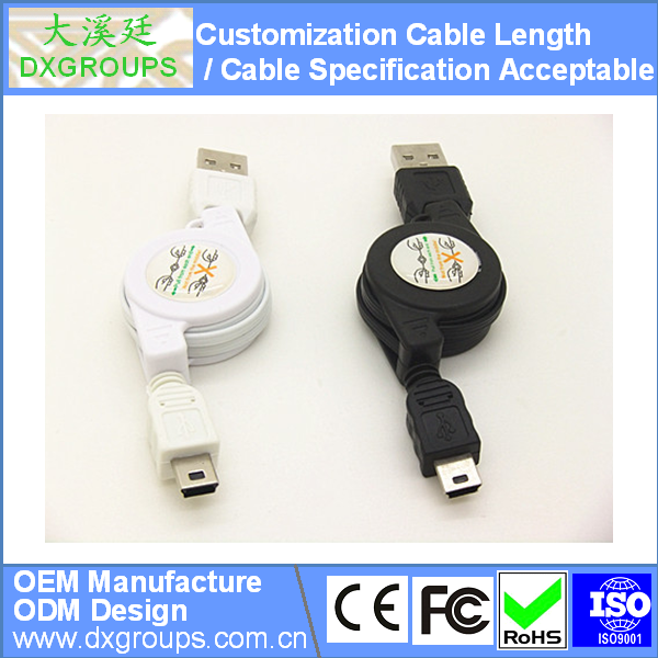 Retractable Mini USB V3 Charger & Data Sync Cable For MP3 / MP4 For Camera; Accept Cable Customization