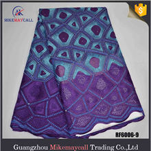 High Quality Blue color African Cotton Dry Lace Fabric african swiss lace rhinestone Swiss voile 100% cotton organza
