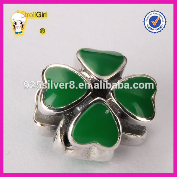 Four leaf clover Charm Beads 925 sterling silver enamel beads