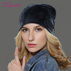 New trendy winter lady cap women knit beanie hat with embroidery diamond butterfly decoration