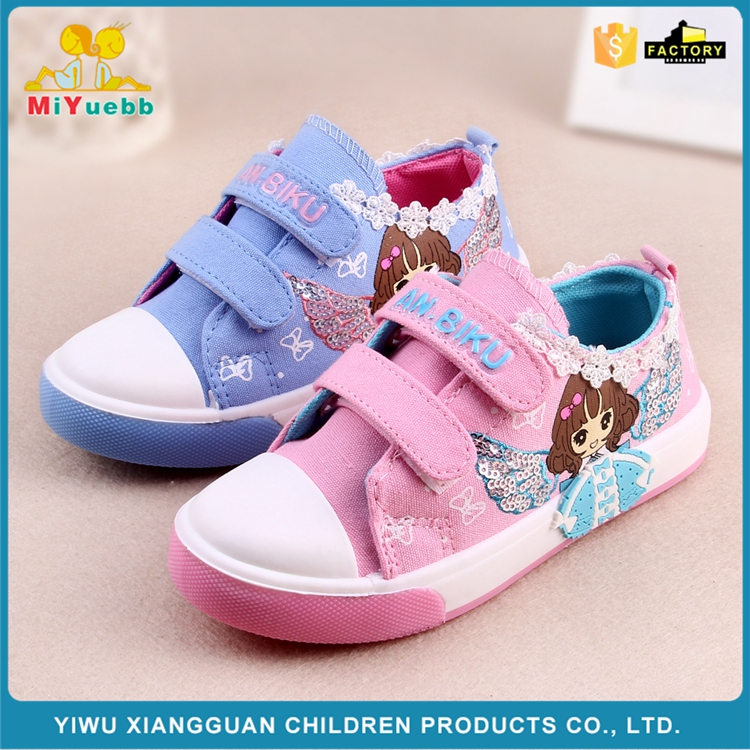 New arrival high quality beautiful cartoon printing canvas kids children shoes