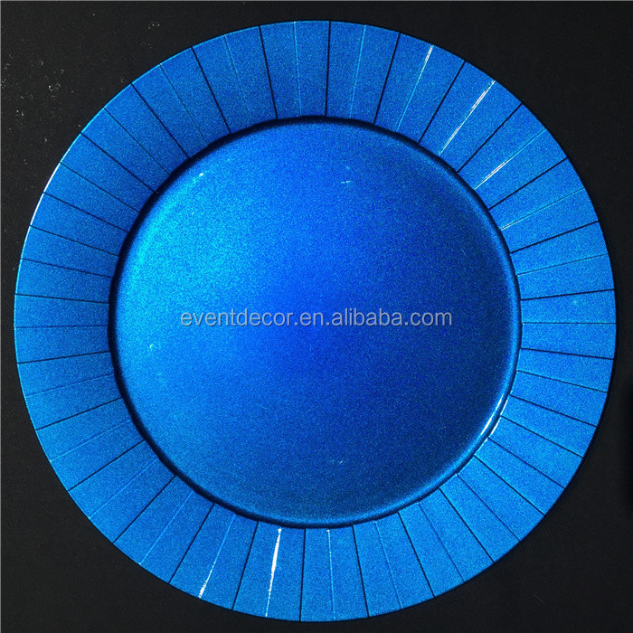 Fashion style blue plastic charger plates used with restaurant and wedding