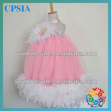 wholesale toddler dresses pink tulle white feather long tutu cocktail dresses