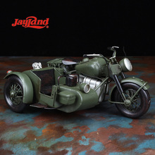 Classical army motorcycle model with sidecar, handmade art craft, table decor, kids gifts