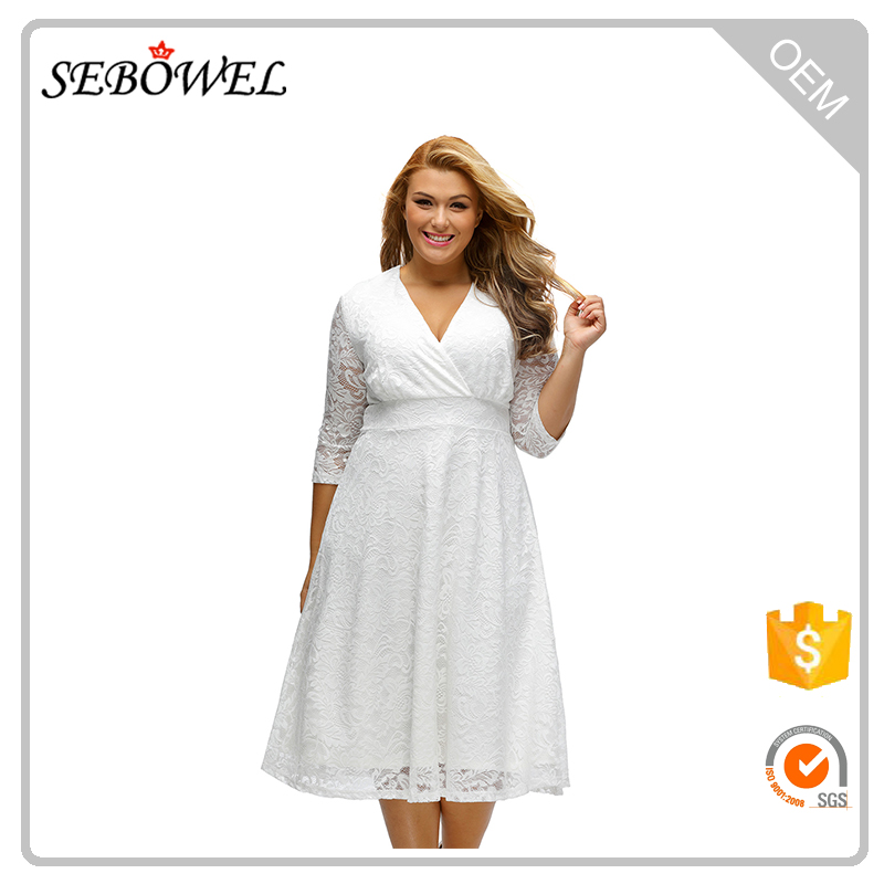 Plus Size Sexy Surplice Lace Formal Skater Dress