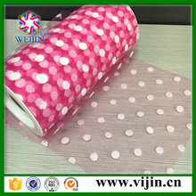 nylon flocking dots tulle mesh for flower wrapping,party decoration