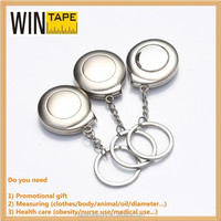 custom steel measuring tape metal case with metal keychain