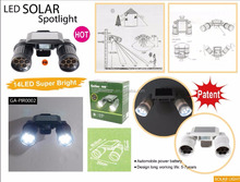 Low Voltage Solar 14Led Spot Twin Heads Sensor Security Light Outdoor