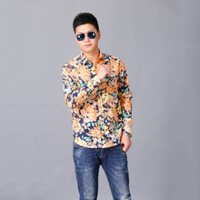 New style latest pattern flower print slim fit men casual pant shirts