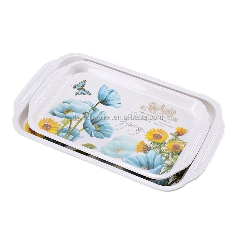 Amazon Best selling printed Custom melamine tray, melamine serving tray made in china