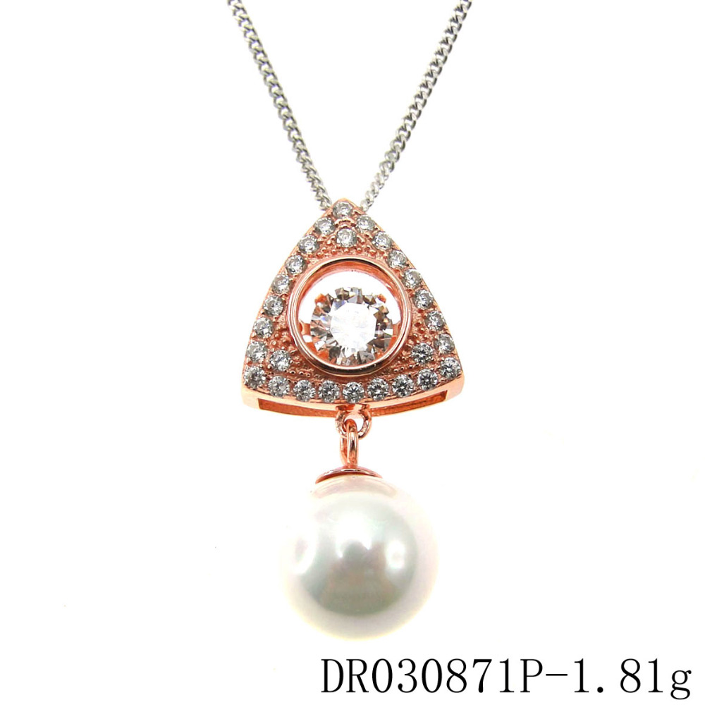 Hot Sale 925 Sterling Silver Dancing Stone Pendants Neckalce With White Shell Pearl Pendant Wholesale DR030871P
