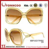 FONHCOO Seller Factory European Style Replica Yellow Frame Fashion 2015 Sunglasses For Women