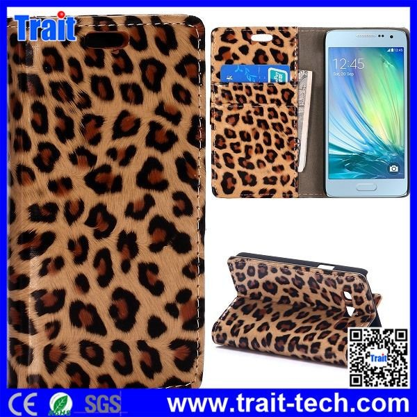 OEM Leopard Pattern Wallet Style Magnetic Flip Stand PC PU Leather Case for Samsung Galaxy A3 SM-A300F A3000