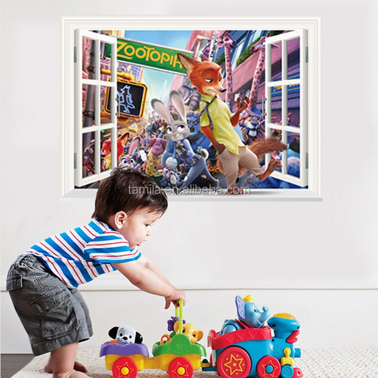 3d wall stickers home decor cute baby nursery furniture cartoon movie character Zootopia wall decal kids room decorative sticker