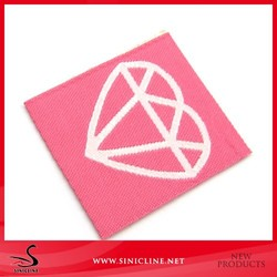 Factory Custom Pink Woven Label for Purse with Free sample