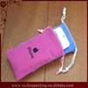 Wholesale Small Drawstring China Cheap Screen Printing Velvet Bag for Iphone