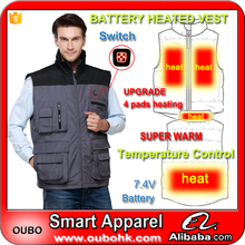 Work vest pockets men's sleeveless multi pockets fishing vest with 4 heated pads winter battery heated vest warm OUBOHK