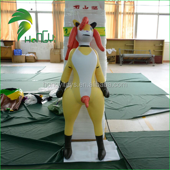 Large Vividly Customized Hongyi Sexy Figure Model / Zoo Animals Plastic Sexy Inflatable Dog Toy