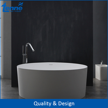 High quality Solid Surface Freestanding Artificial Stone Bathtub With Matte White Round Shape