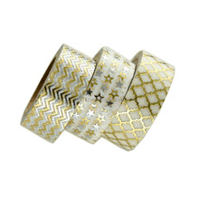 Hot Selling Diy Papercrafts Chevron Arrow Zig Zag Assorted Pattern Rice Paper Rose Gold Foil Sticky Washi Tape For Planner