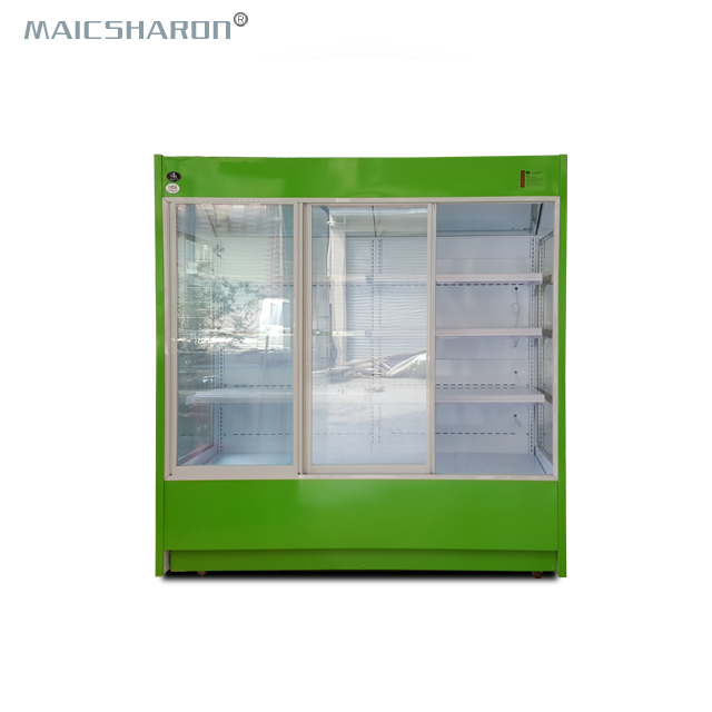 Vertical Air Curtain Merchandiser Refrigerator Food Display Cases For Supermarket Display Refrigerator 2450LITRES