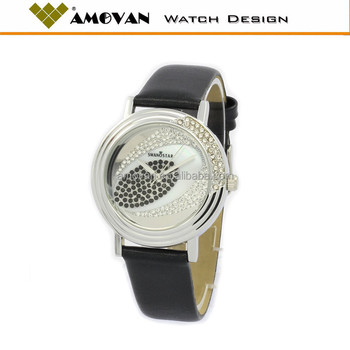 fashion lady watch made in China, mop dial genuine leather ladies watch