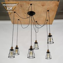 Zhongshan manufacturer premium black E27 lamp holder 6 / 10 arms antique hanging metal cage pendant light