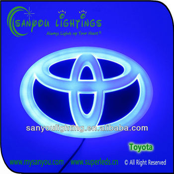 Led backlit Toyota auto logo 4D auto logo led light car