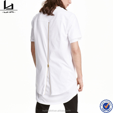 Wholesale clothing manufacturer overseas white men sublimation rounded hem long tail t shirt