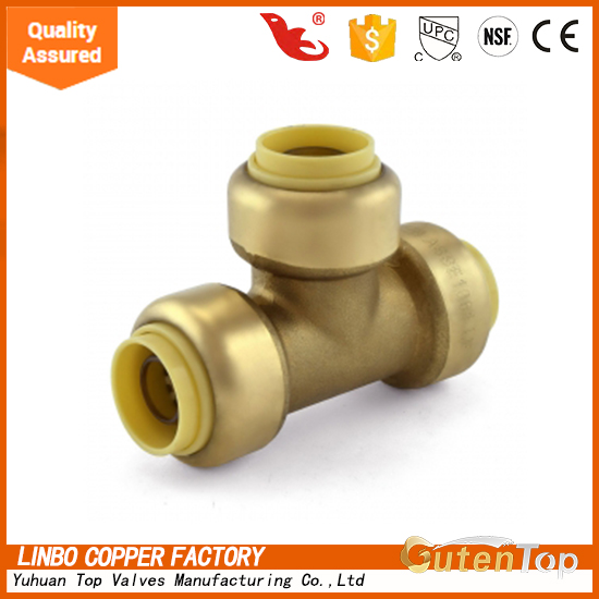 YuHuan Linbo Top Brass Material Push Fit Plumbing Fittings of Equal Pipe Tee LBA007