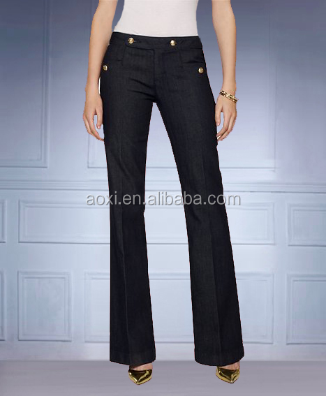 2014 ladies fashion black and white formal and office wide leg trousers,women casual denim palazzo pants and jeans